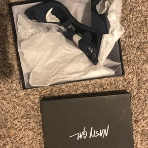 62440017ba0 Nasty Gal Shoes - Nasty Gal Rope to Shore Wrap Heel - Navy new